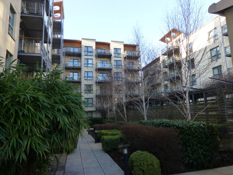 The courtyard of the U-shaped apartment building.