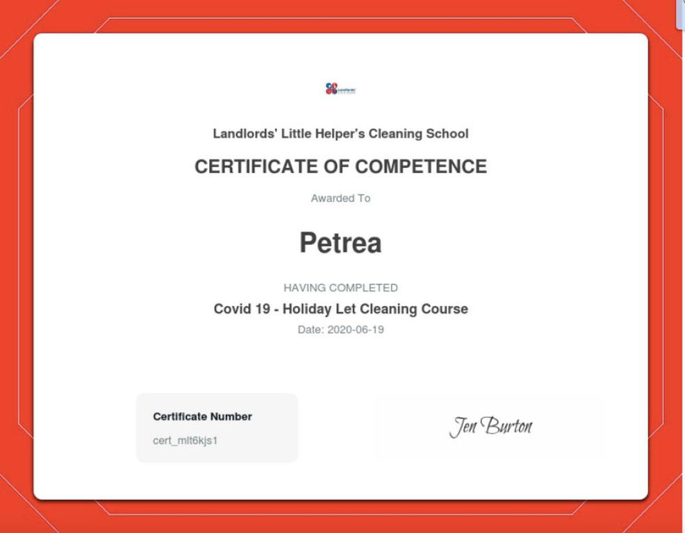Certificate gained in cleaning accommodation supported and endorsed by DCBN, ASSC and PASC)