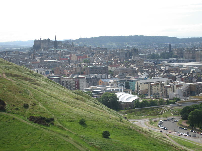 Edinburgh Castle, The Old Town and The Scottish Parliament from Whinny Hill