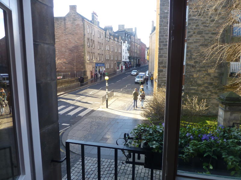 A view from the Juliet balcony along the Royal Mile