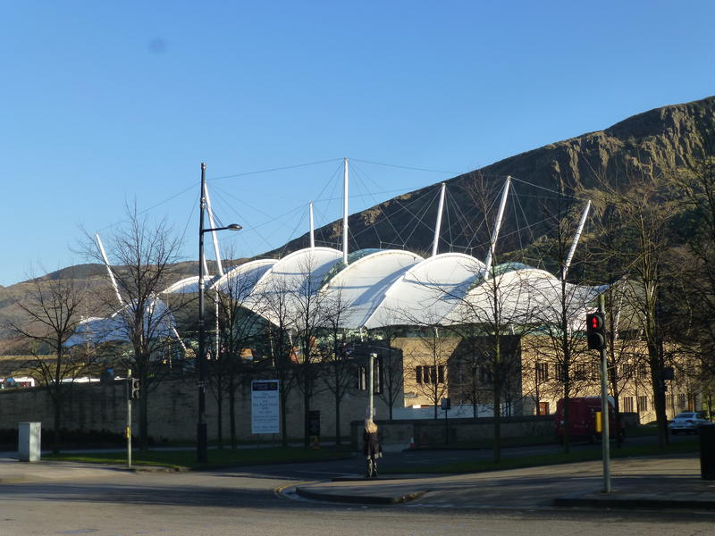 A view of the popular Dynamic Earth visitor centre on Holyrood Road