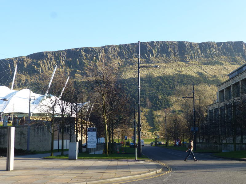 A view of the dramatic Salisbury Crags in nearby Holyrood Park