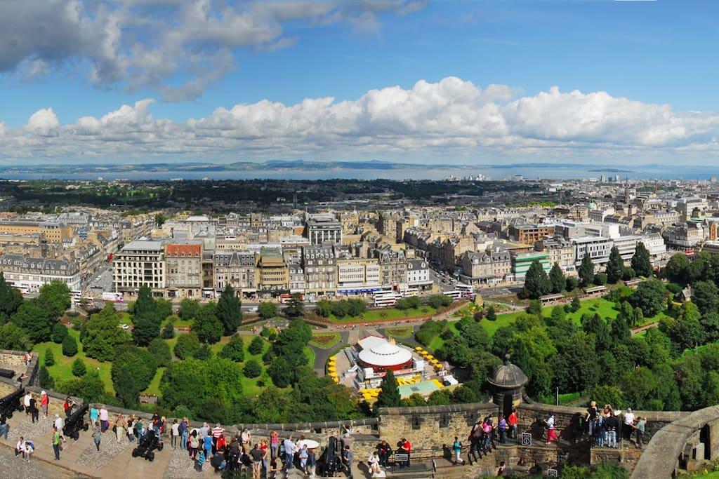 Looking down from Edinburgh Castle
